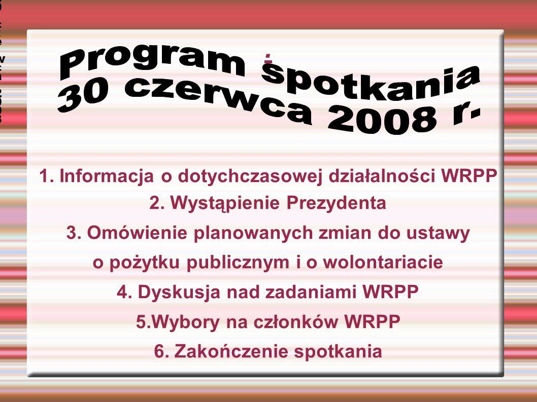 1. Informacja o dotychczasowej działalności WRPP 2.
