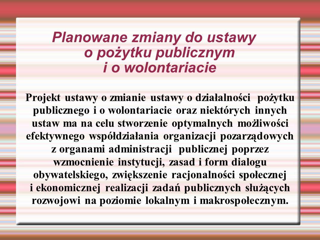 Planowane zmiany do ustawy o pożytku publicznym i o wolontariacie Projekt ustawy o zmianie ustawy o działalności pożytku publicznego i o wolontariacie oraz niektórych innych ustaw ma na celu stworzenie optymalnych możliwości efektywnego współdziałania organizacji pozarządowych z organami administracji publicznej poprzez wzmocnienie instytucji, zasad i form dialogu obywatelskiego, zwiększenie racjonalności społecznej i ekonomicznej realizacji zadań publicznych służących rozwojowi na poziomie lokalnym i makrospołecznym.