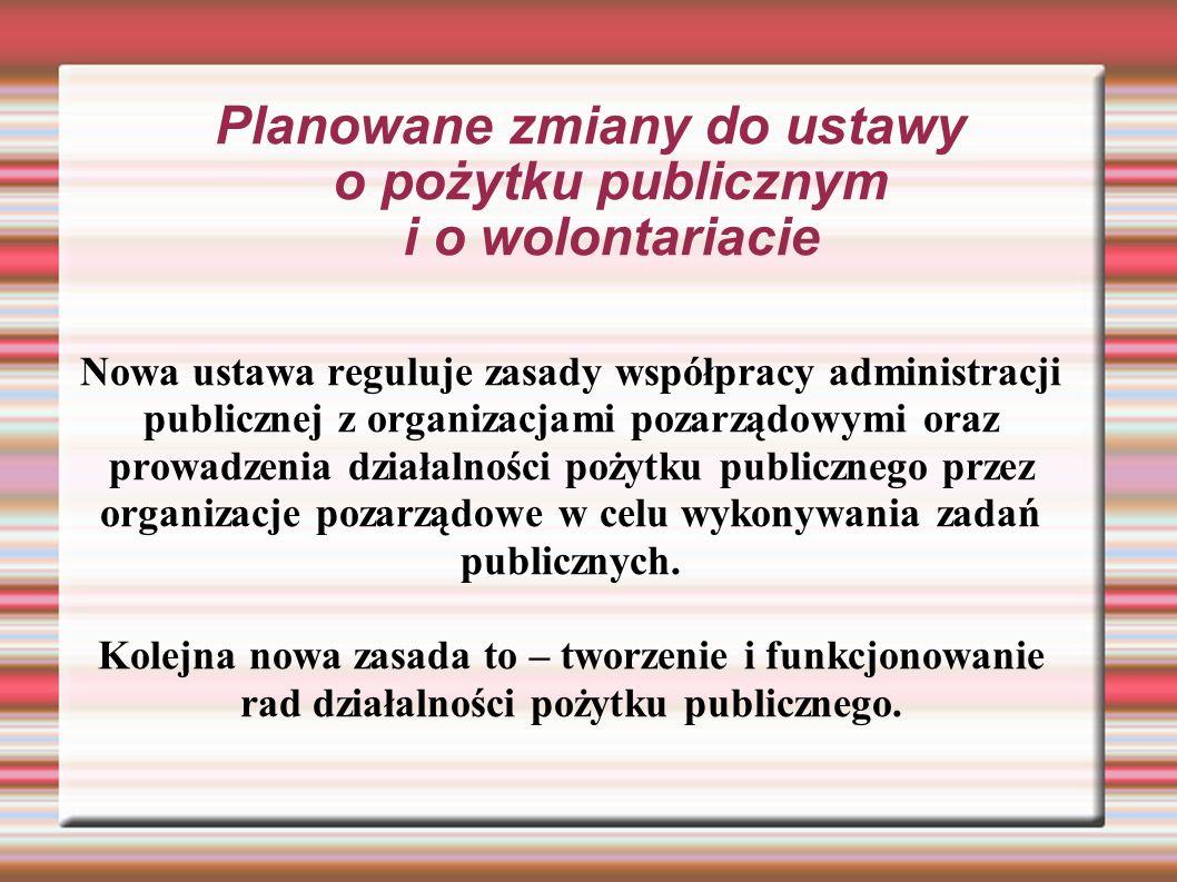 Planowane zmiany do ustawy o pożytku publicznym i o wolontariacie Nowa ustawa reguluje zasady współpracy administracji publicznej z organizacjami pozarządowymi oraz prowadzenia działalności pożytku publicznego przez organizacje pozarządowe w celu wykonywania zadań publicznych.