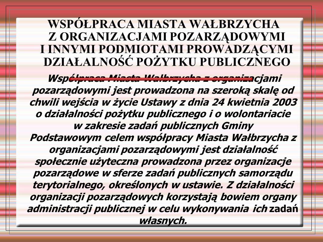 Współpraca Miasta Wałbrzycha z organizacjami pozarządowymi jest prowadzona na szeroką skalę od chwili wejścia w życie Ustawy z dnia 24 kwietnia 2003 o działalności pożytku publicznego i o wolontariacie w zakresie zadań publicznych Gminy Podstawowym celem współpracy Miasta Wałbrzycha z organizacjami pozarządowymi jest działalność społecznie użyteczna prowadzona przez organizacje pozarządowe w sferze zadań publicznych samorządu terytorialnego, określonych w ustawie.
