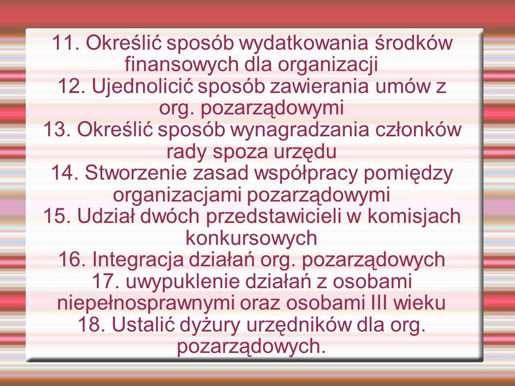 11. Określić sposób wydatkowania środków finansowych dla organizacji 12.