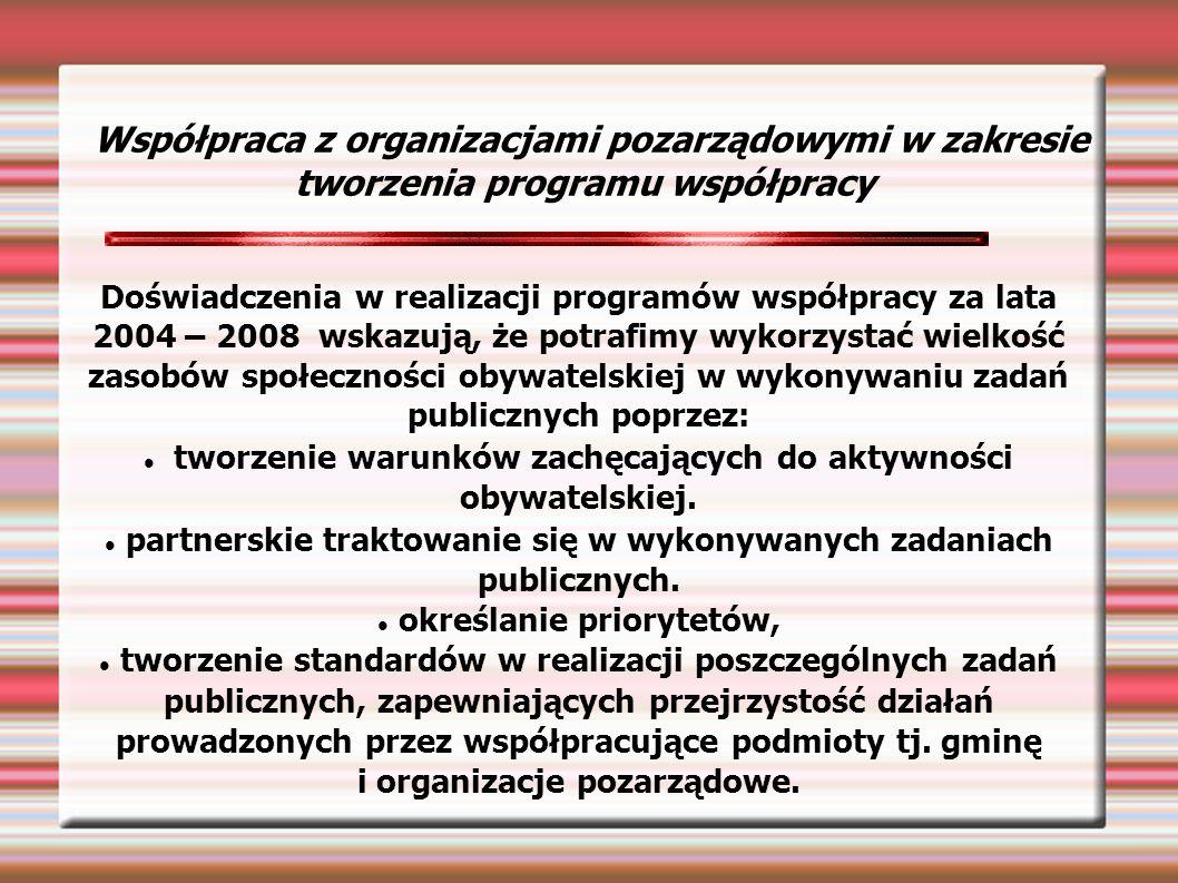 Współpraca z organizacjami pozarządowymi w zakresie tworzenia programu współpracy Doświadczenia w realizacji programów współpracy za lata 2004 – 2008 wskazują, że potrafimy wykorzystać wielkość zasobów społeczności obywatelskiej w wykonywaniu zadań publicznych poprzez: tworzenie warunków zachęcających do aktywności obywatelskiej.