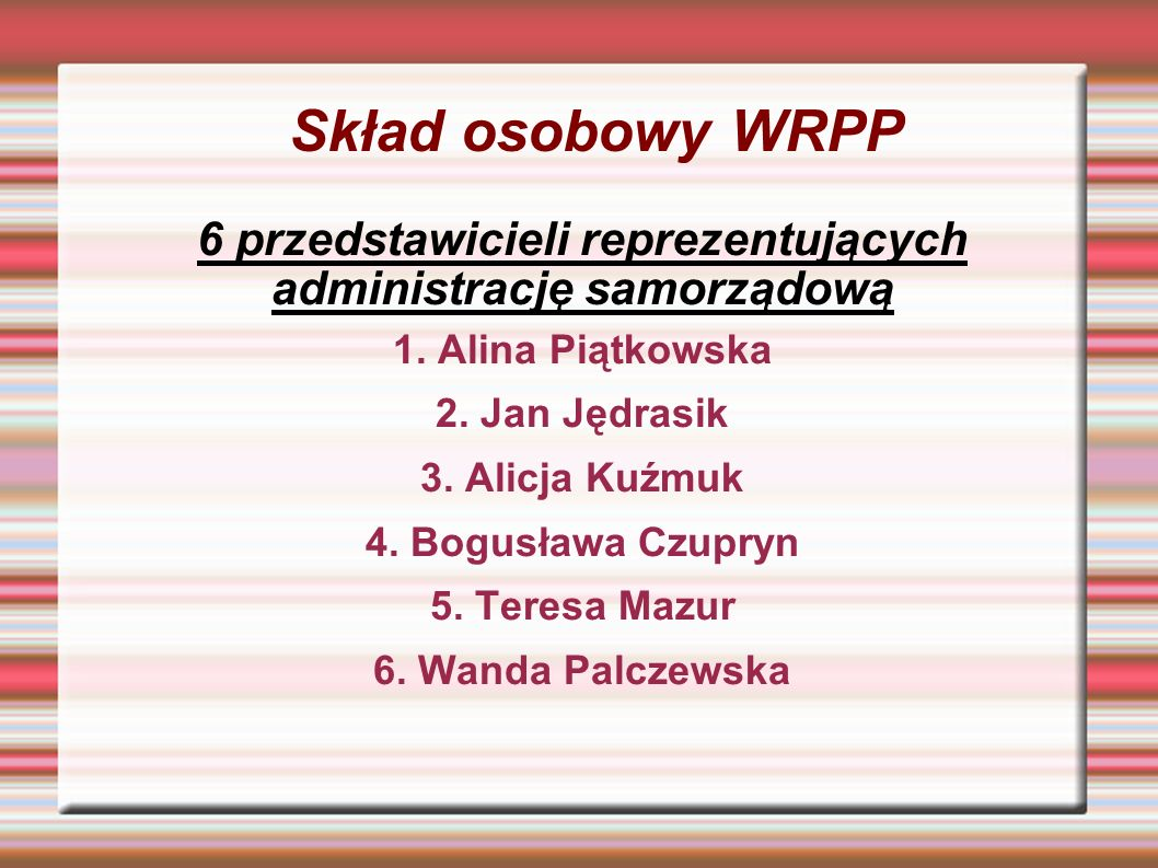 Skład osobowy WRPP 6 przedstawicieli reprezentujących administrację samorządową 1.