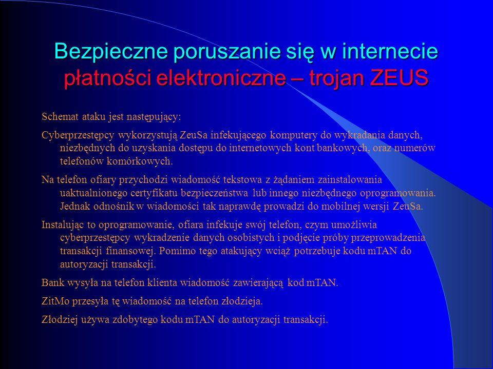 Bezpieczne poruszanie się w internecie płatności elektroniczne – trojan ZEUS Schemat ataku jest następujący: Cyberprzestępcy wykorzystują ZeuSa infeku