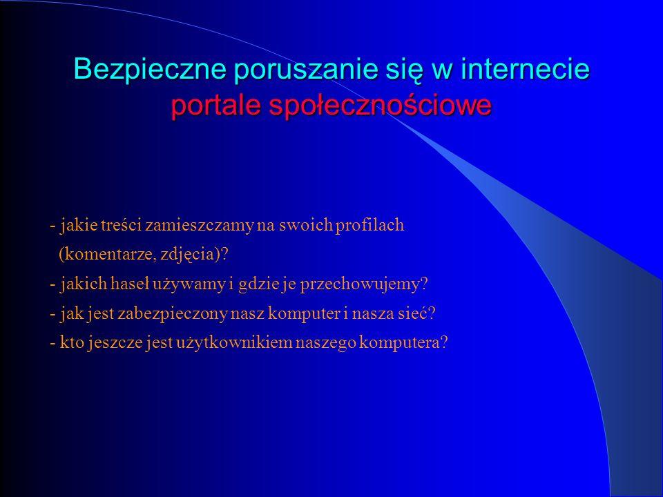 Bezpieczne poruszanie się w internecie portale społecznościowe - jakie treści zamieszczamy na swoich profilach (komentarze, zdjęcia)? - jakich haseł u