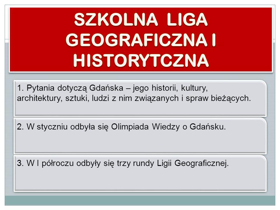 1. Pytania dotyczą Gdańska – jego historii, kultury, architektury, sztuki, ludzi z nim związanych i spraw bieżących. 2. W styczniu odbyła się Olimpiad