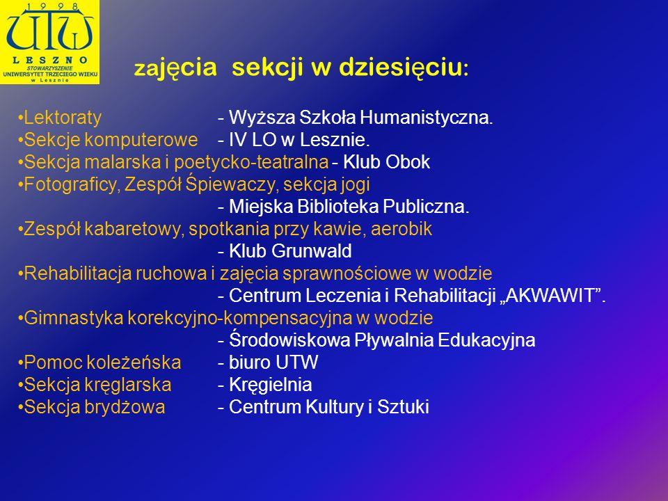 za j ę cia sekcji w dziesi ę ciu : Lektoraty - Wyższa Szkoła Humanistyczna. Sekcje komputerowe- IV LO w Lesznie. Sekcja malarska i poetycko-teatralna