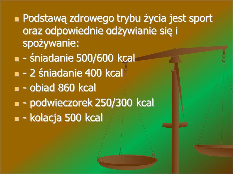Podstawą zdrowego trybu życia jest sport oraz odpowiednie odżywianie się i spożywanie: Podstawą zdrowego trybu życia jest sport oraz odpowiednie odżywianie się i spożywanie: - śniadanie 500/600 kcal - śniadanie 500/600 kcal - 2 śniadanie 400 kcal - 2 śniadanie 400 kcal - obiad 860 kcal - obiad 860 kcal - podwieczorek 250/300 kcal - podwieczorek 250/300 kcal - kolacja 500 kcal - kolacja 500 kcal