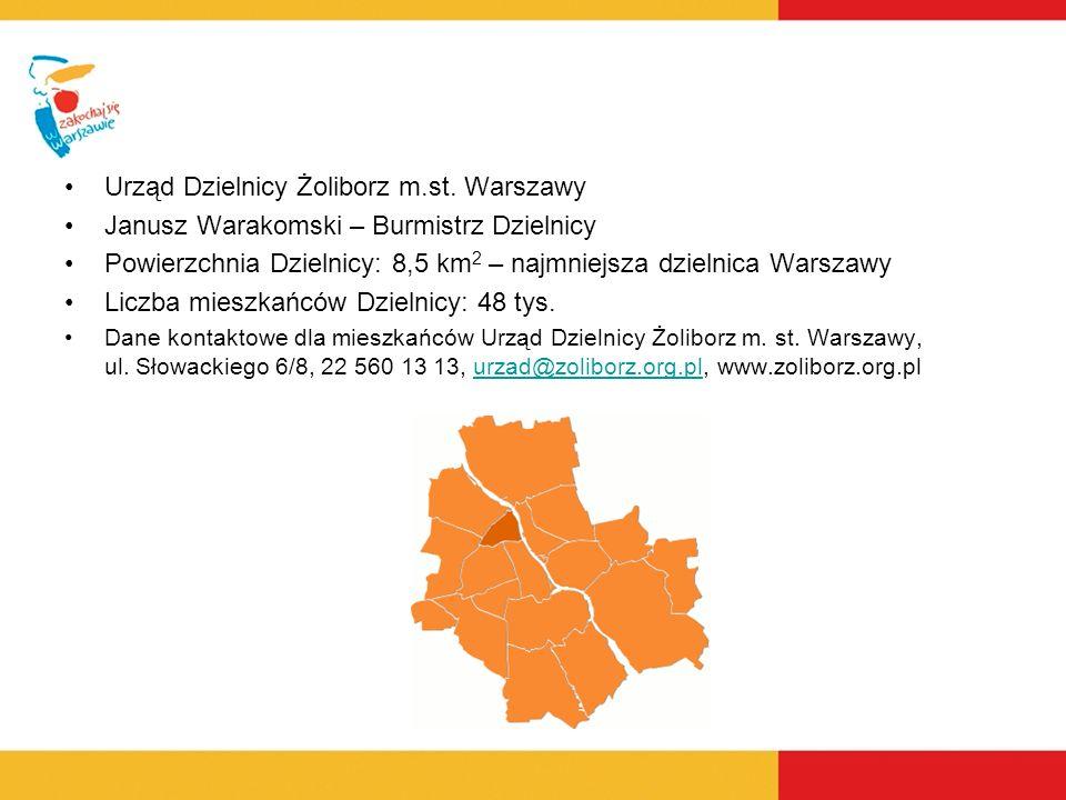 Janusz Warakomski – Burmistrz Dzielnicy Powierzchnia Dzielnicy: 8,5 km 2 – najmniejsza dzielnica Warszawy Liczba mieszkańców Dzielnicy: 48 tys. Dane k