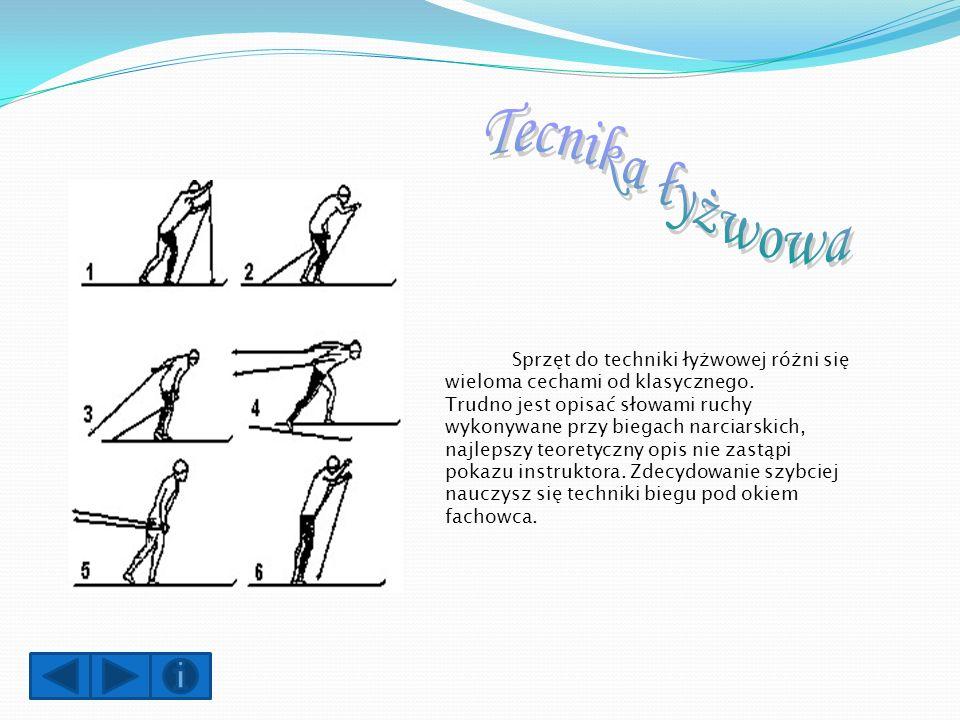 Styl klasyczny: Narty powinny sięgać do początku nasady kciuka, przy wyciągniętej do góry ręce.