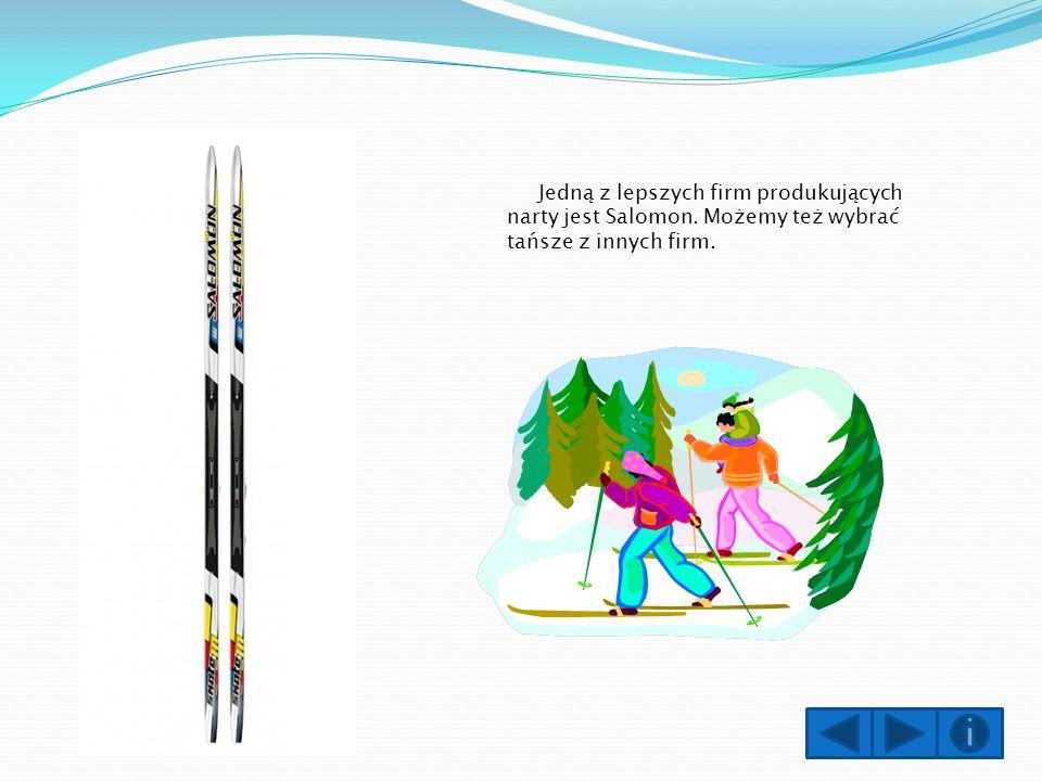 Jedną z lepszych firm produkujących narty jest Salomon. Możemy też wybrać tańsze z innych firm.