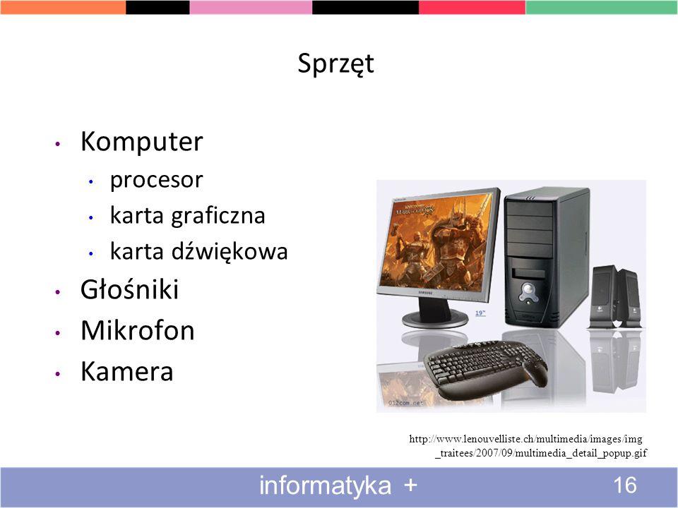 Co jest potrzebne do korzystania z multimediów Dwie strony medalu źródła multimediów odtwarzacze multimediów Sprzęt Oprogramowanie 15 informatyka +