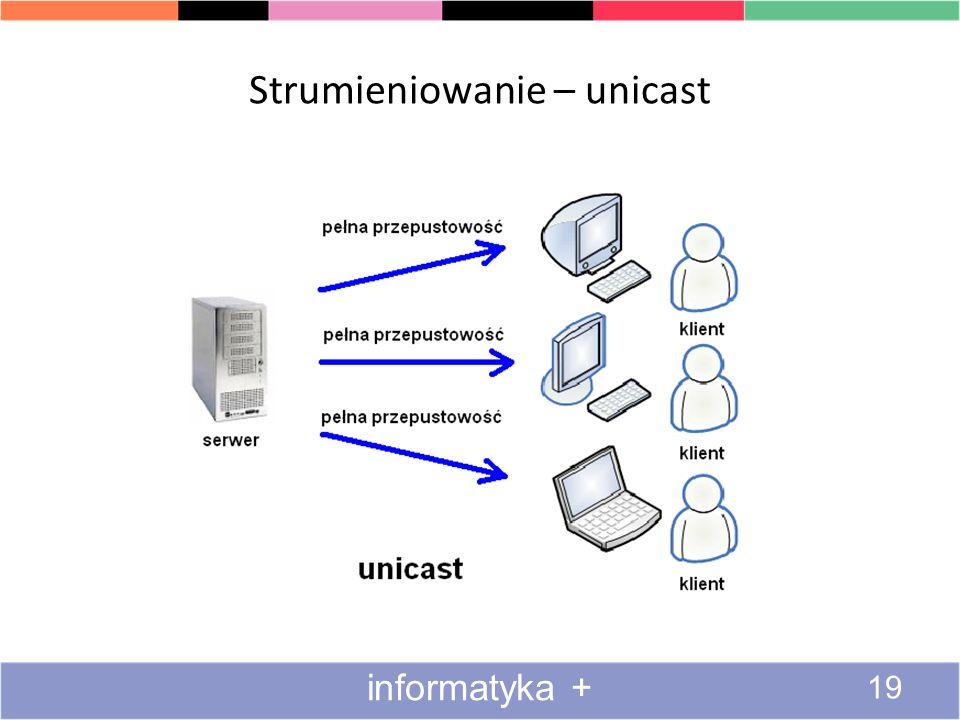 Strumieniowanie – technika rozsyłania informacji Informacje płyną strumieniami od nadawcy do odbiorców Sposób działania podobny do TV i radia Zastosow