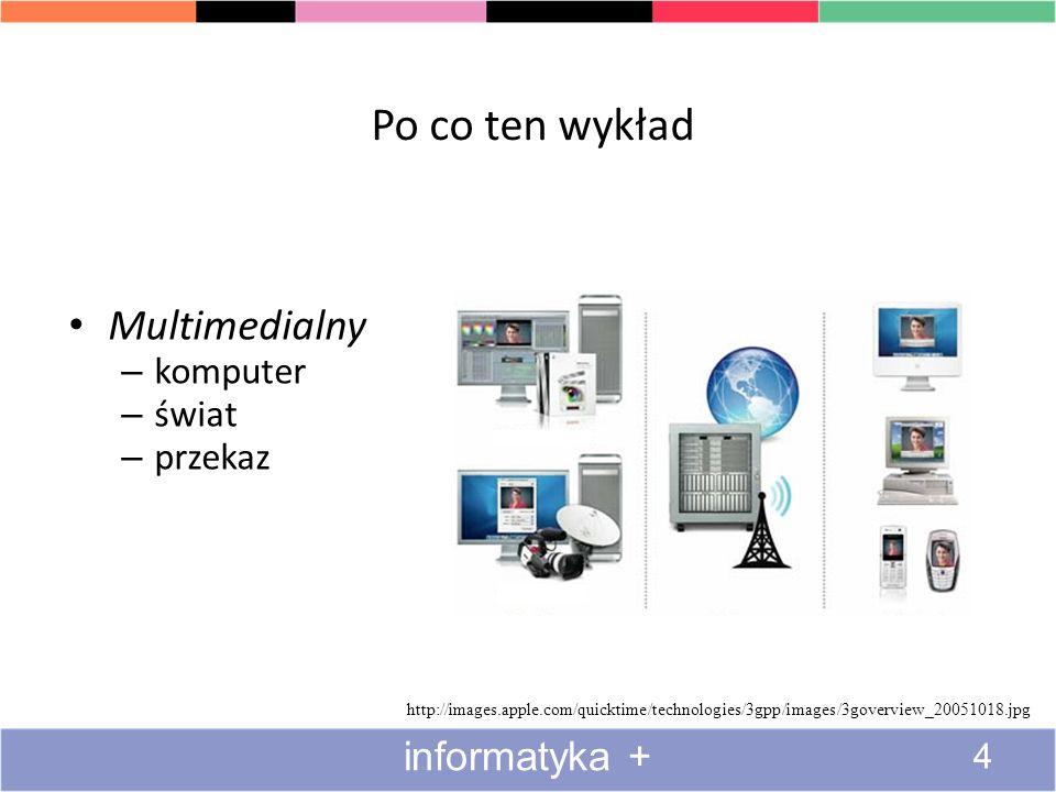 Po co ten wykład Multimedialny – komputer – świat – przekaz http://images.apple.com/quicktime/technologies/3gpp/images/3goverview_20051018.jpg 4 informatyka +