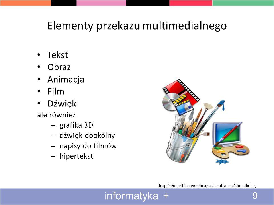 Elementy przekazu multimedialnego Tekst Obraz Animacja Film Dźwięk ale również – grafika 3D – dźwięk dookólny – napisy do filmów – hipertekst http://ahoraybien.com/images/cuadro_multimedia.jpg 9 informatyka +