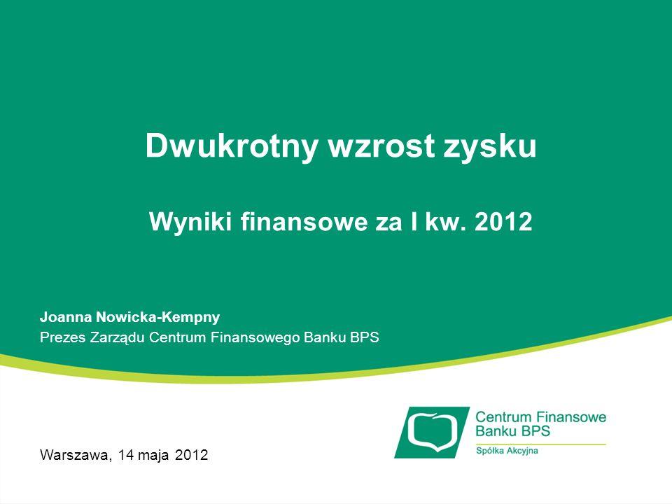 Dwukrotny wzrost zysku Wyniki finansowe za I kw. 2012 Joanna Nowicka-Kempny Prezes Zarządu Centrum Finansowego Banku BPS Warszawa, 14 maja 2012