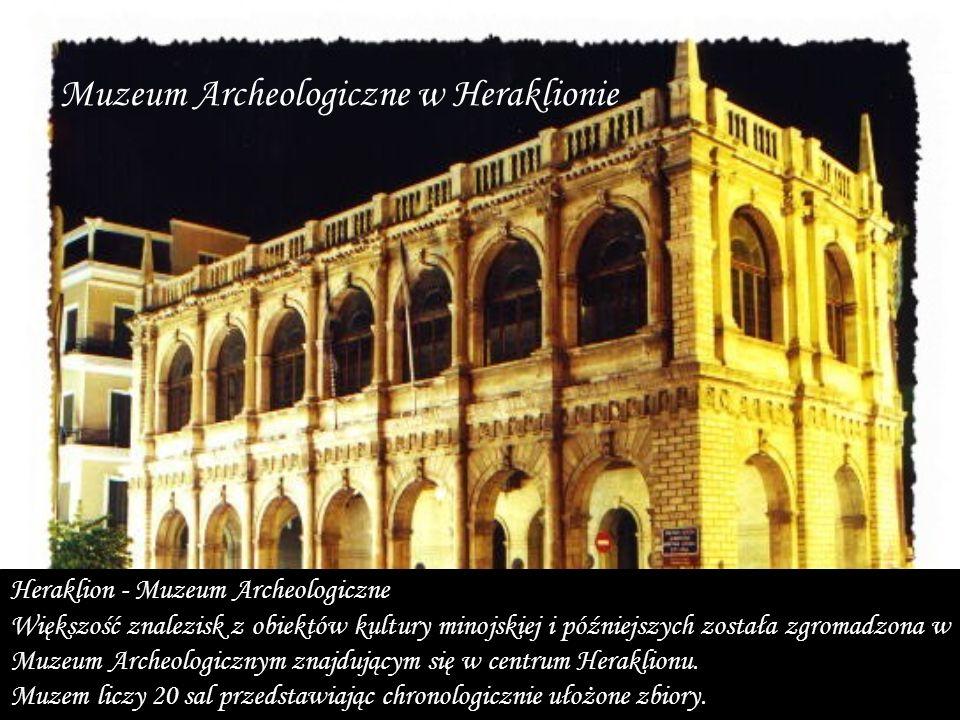 Heraklion - Muzeum Archeologiczne Większość znalezisk z obiektów kultury minojskiej i późniejszych została zgromadzona w Muzeum Archeologicznym znajdującym się w centrum Heraklionu.