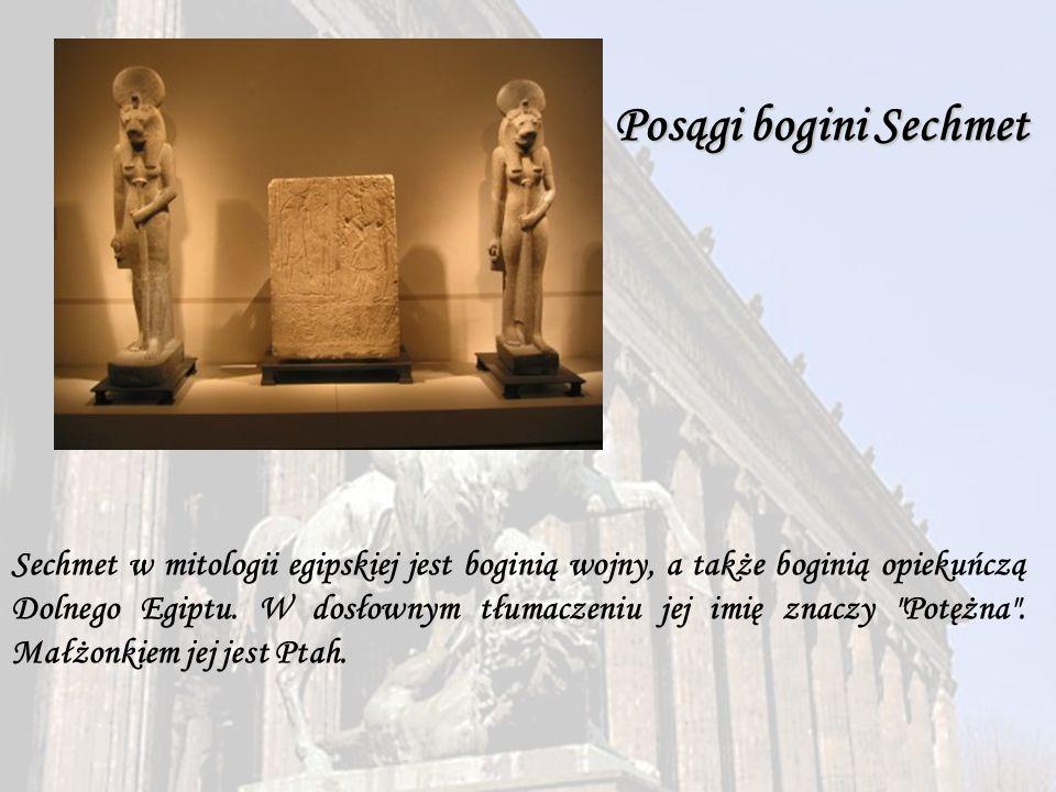 Posągi bogini Sechmet Sechmet w mitologii egipskiej jest boginią wojny, a także boginią opiekuńczą Dolnego Egiptu. W dosłownym tłumaczeniu jej imię zn