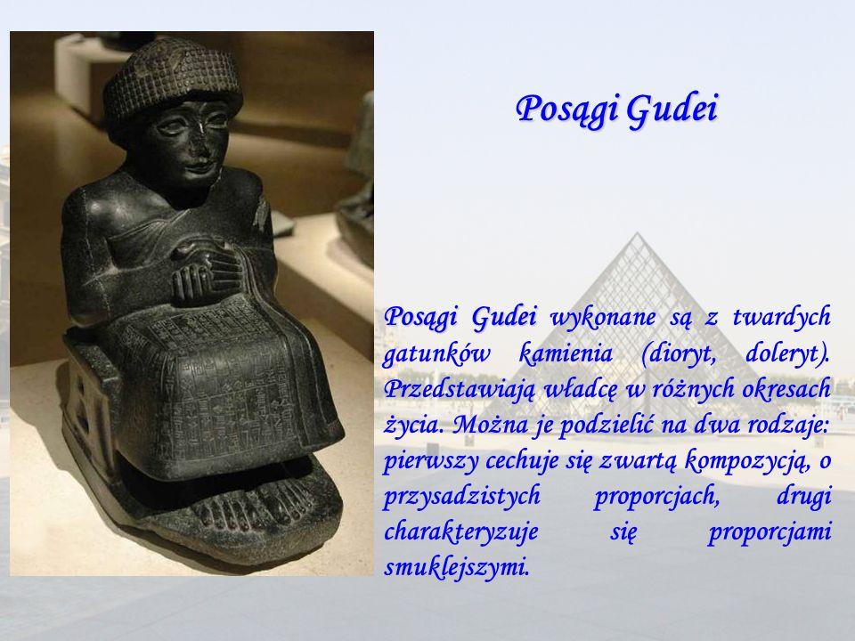 Posągi Gudei Posągi Gudei wykonane są z twardych gatunków kamienia (dioryt, doleryt). Przedstawiają władcę w różnych okresach życia. Można je podzieli
