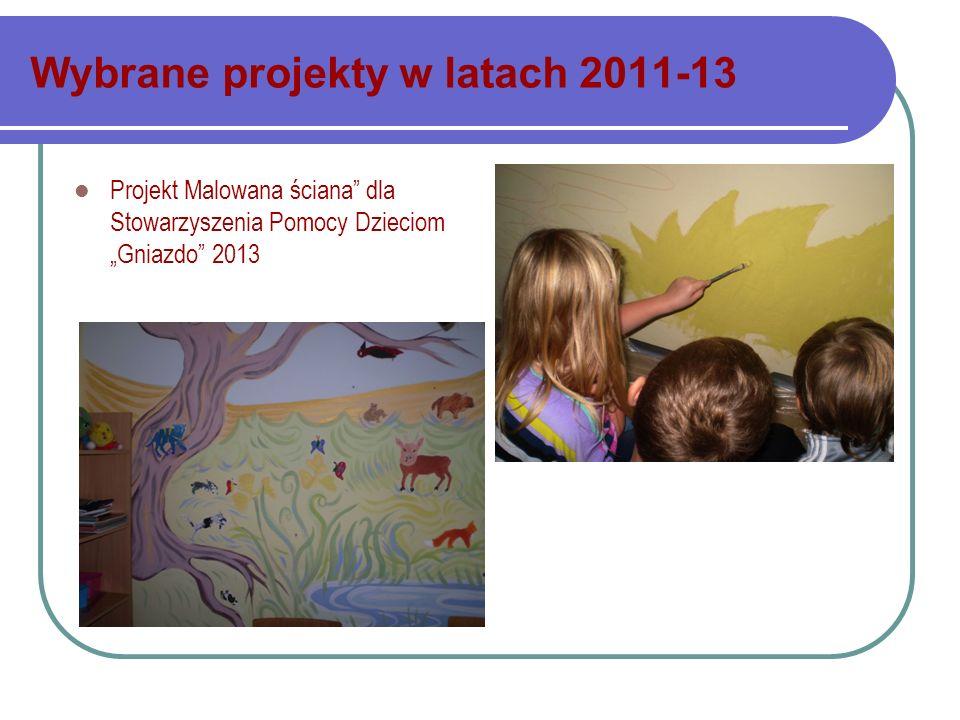 Wybrane projekty w latach 2011-13 Projekt Malowana ściana dla Stowarzyszenia Pomocy Dzieciom Gniazdo 2013