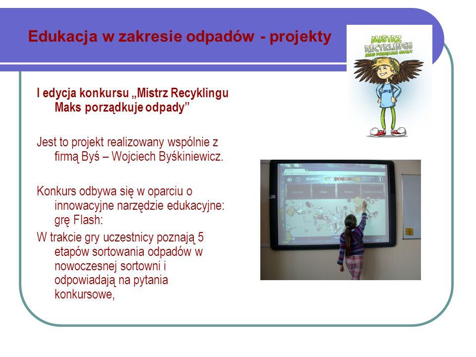 Edukacja w zakresie odpadów - projekty I edycja konkursu Mistrz Recyklingu Maks porządkuje odpady Jest to projekt realizowany wspólnie z firmą Byś – Wojciech Byśkiniewicz.