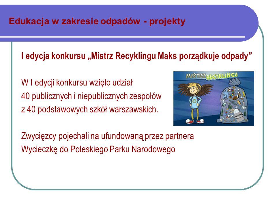 Edukacja w zakresie odpadów - projekty I edycja konkursu Mistrz Recyklingu Maks porządkuje odpady W I edycji konkursu wzięło udział 40 publicznych i niepublicznych zespołów z 40 podstawowych szkół warszawskich.