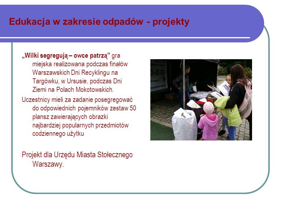 Edukacja w zakresie odpadów - projekty Wilki segregują – owce patrzą gra miejska realizowana podczas finałów Warszawskich Dni Recyklingu na Targówku, w Ursusie, podczas Dni Ziemi na Polach Mokotowskich.