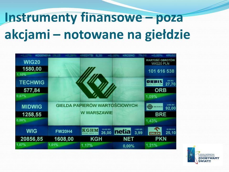 Instrumenty finansowe – poza akcjami – notowane na giełdzie