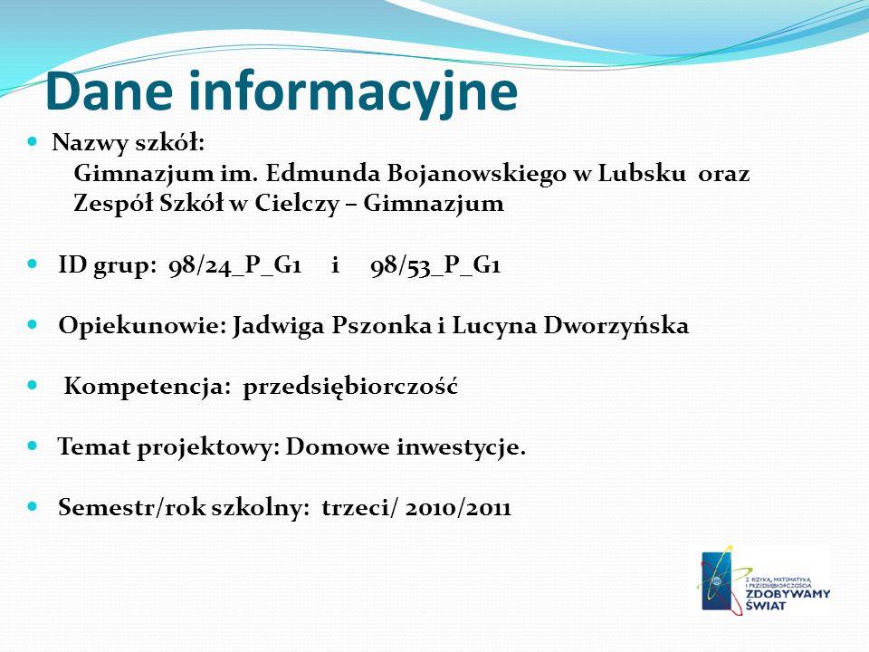 Dane informacyjne Nazwy szkół: Gimnazjum im.