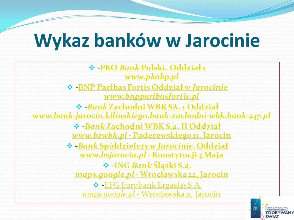 Wykaz banków w Jarocinie -PKO Bank Polski. Oddział 1 www.pkobp.plPKO Bank Polski. Oddział 1 www.pkobp.pl -BNP Paribas Fortis Oddział w Jarocinie www.b
