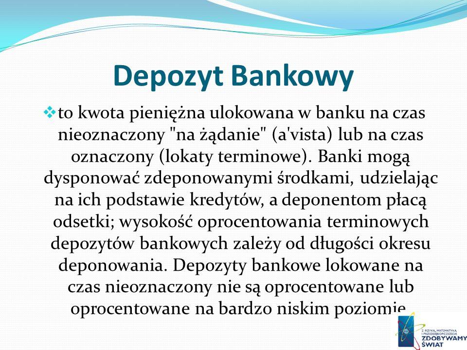 Depozyt Bankowy to kwota pieniężna ulokowana w banku na czas nieoznaczony na żądanie (a vista) lub na czas oznaczony (lokaty terminowe).