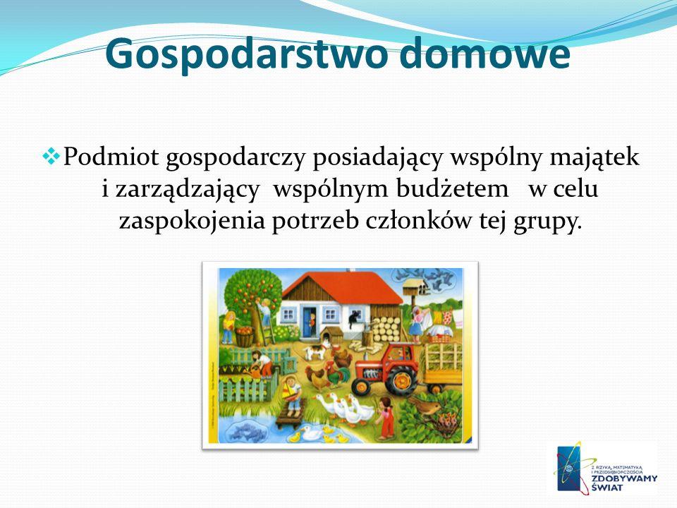 Gospodarstwo domowe Podmiot gospodarczy posiadający wspólny majątek i zarządzający wspólnym budżetem w celu zaspokojenia potrzeb członków tej grupy.