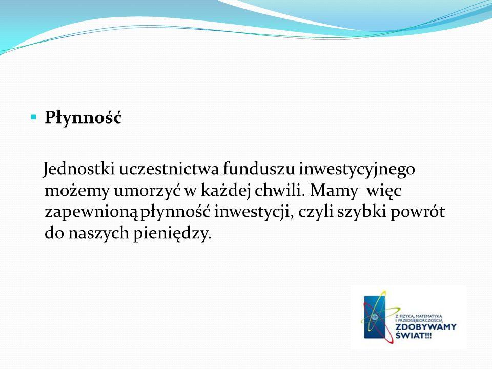 Płynność Jednostki uczestnictwa funduszu inwestycyjnego możemy umorzyć w każdej chwili.