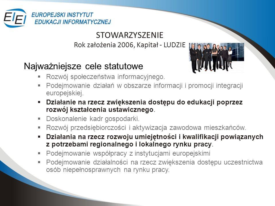 STOWARZYSZENIE Rok założenia 2006, Kapitał - LUDZIE Najważniejsze cele statutowe Rozwój społeczeństwa informacyjnego. Podejmowanie działań w obszarze