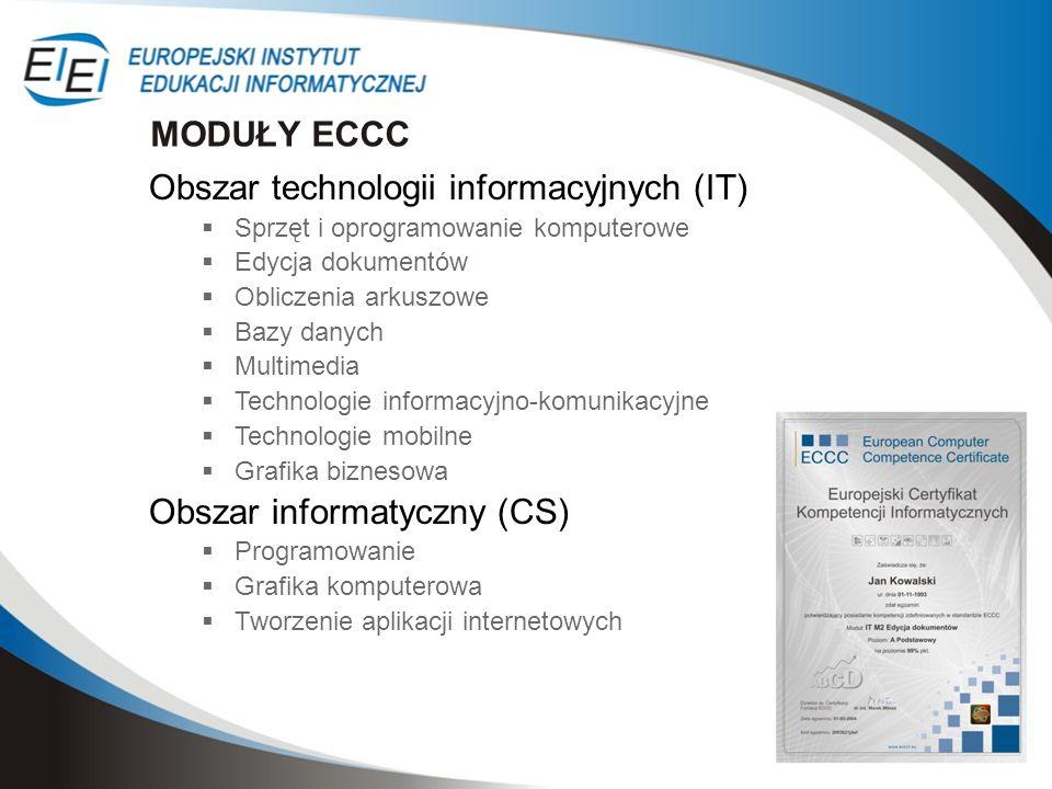 Obszar technologii informacyjnych (IT) Sprzęt i oprogramowanie komputerowe Edycja dokumentów Obliczenia arkuszowe Bazy danych Multimedia Technologie i
