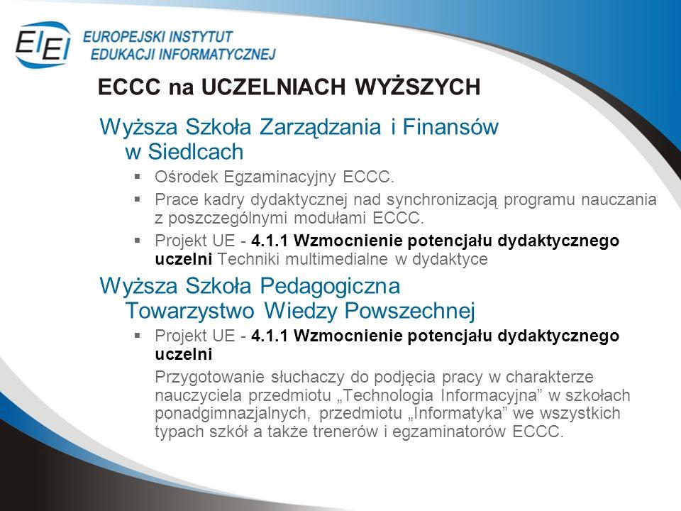 Wyższa Szkoła Zarządzania i Finansów w Siedlcach Ośrodek Egzaminacyjny ECCC. Prace kadry dydaktycznej nad synchronizacją programu nauczania z poszczeg