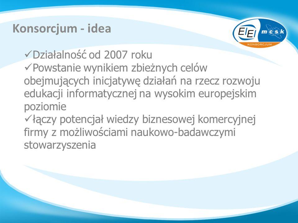 Konsorcjum - idea Działalność od 2007 roku Powstanie wynikiem zbieżnych celów obejmujących inicjatywę działań na rzecz rozwoju edukacji informatycznej