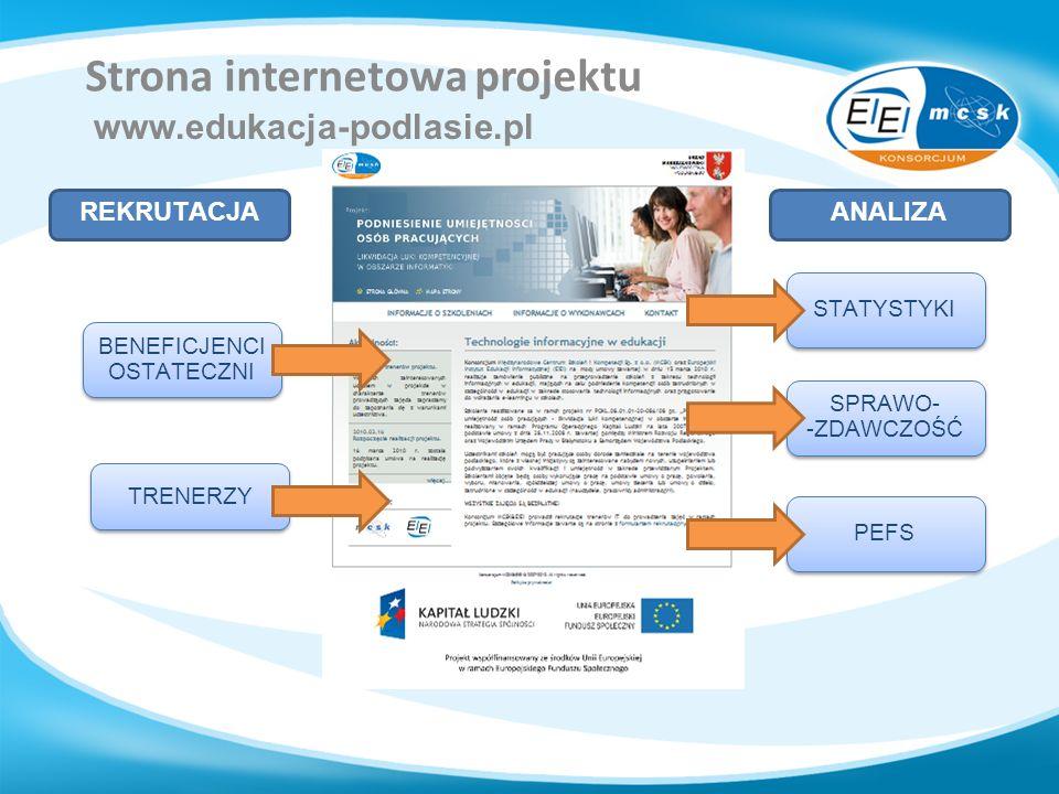 Strona internetowa projektu www.edukacja-podlasie.pl REKRUTACJAANALIZA BENEFICJENCI OSTATECZNI TRENERZY STATYSTYKI SPRAWO- -ZDAWCZOŚĆ PEFS