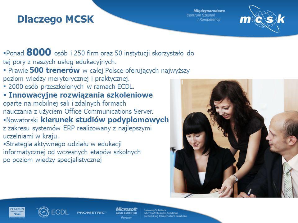 Dlaczego MCSK Ponad 8000 osób i 250 firm oraz 50 instytucji skorzystało do tej pory z naszych usług edukacyjnych. Prawie 500 trenerów w całej Polsce o