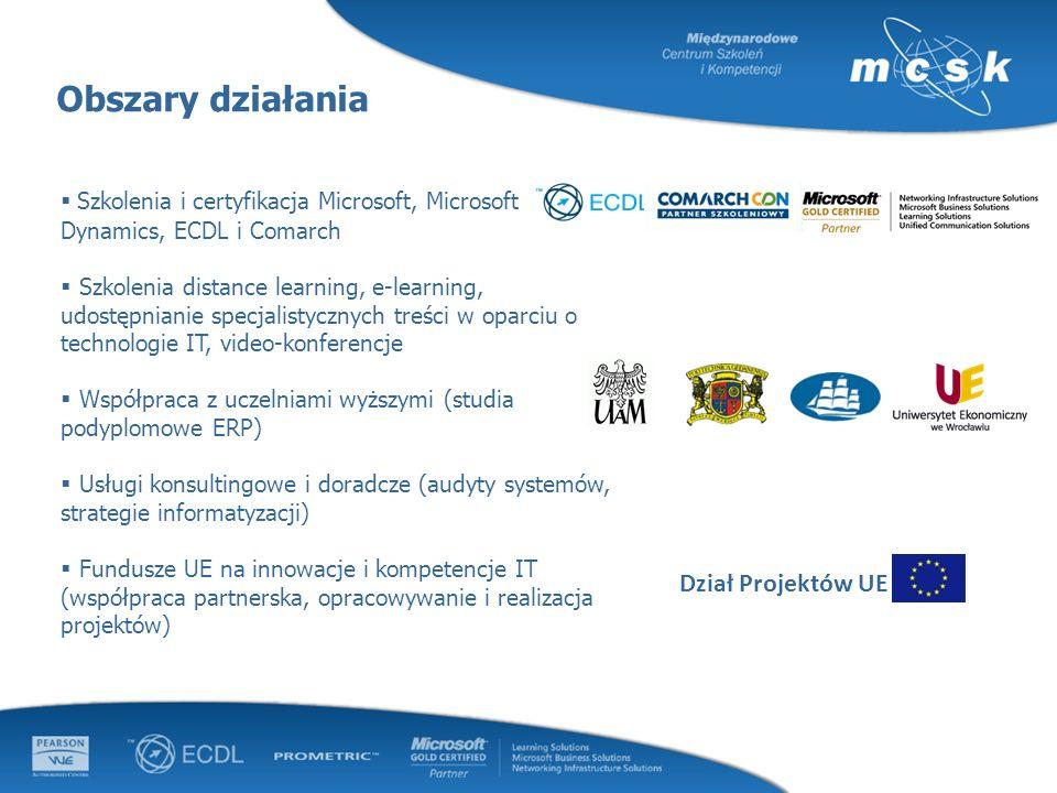 Obszary działania Szkolenia i certyfikacja Microsoft, Microsoft Dynamics, ECDL i Comarch Szkolenia distance learning, e-learning, udostępnianie specja
