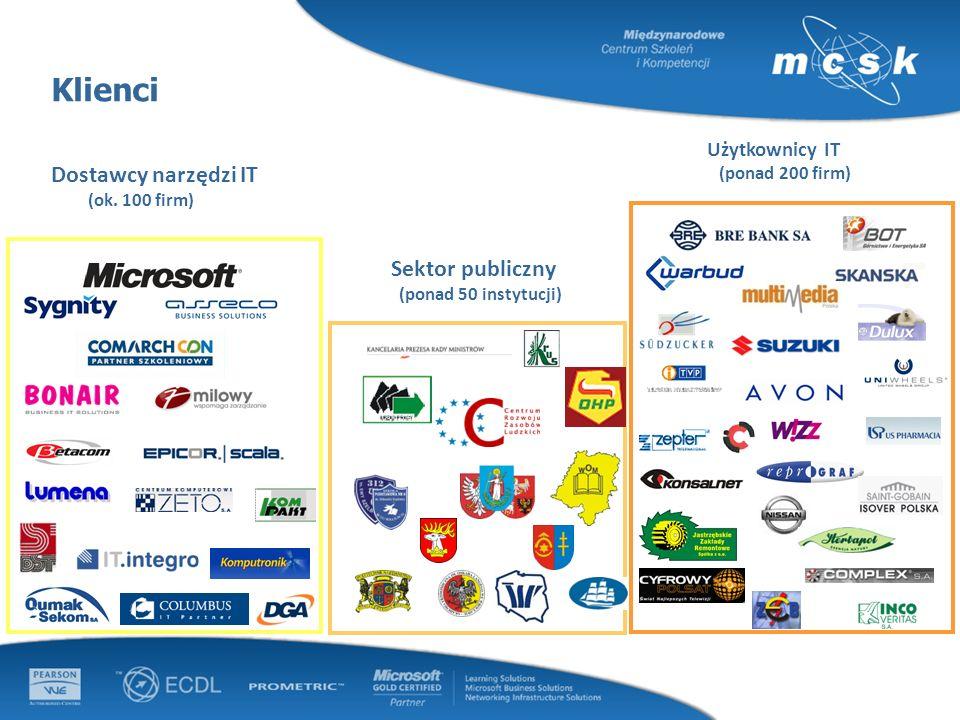 Użytkownicy IT (ponad 200 firm) Sektor publiczny (ponad 50 instytucji) Klienci Dostawcy narzędzi IT (ok. 100 firm)