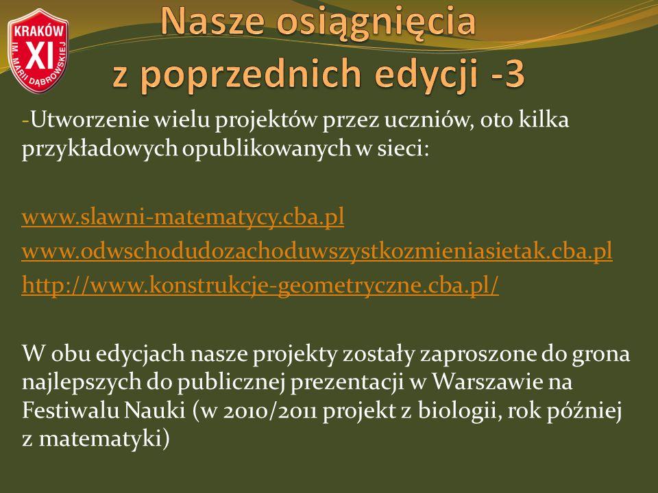 - Utworzenie wielu projektów przez uczniów, oto kilka przykładowych opublikowanych w sieci: www.slawni-matematycy.cba.pl www.odwschodudozachoduwszystkozmieniasietak.cba.pl http://www.konstrukcje-geometryczne.cba.pl/ W obu edycjach nasze projekty zostały zaproszone do grona najlepszych do publicznej prezentacji w Warszawie na Festiwalu Nauki (w 2010/2011 projekt z biologii, rok później z matematyki)