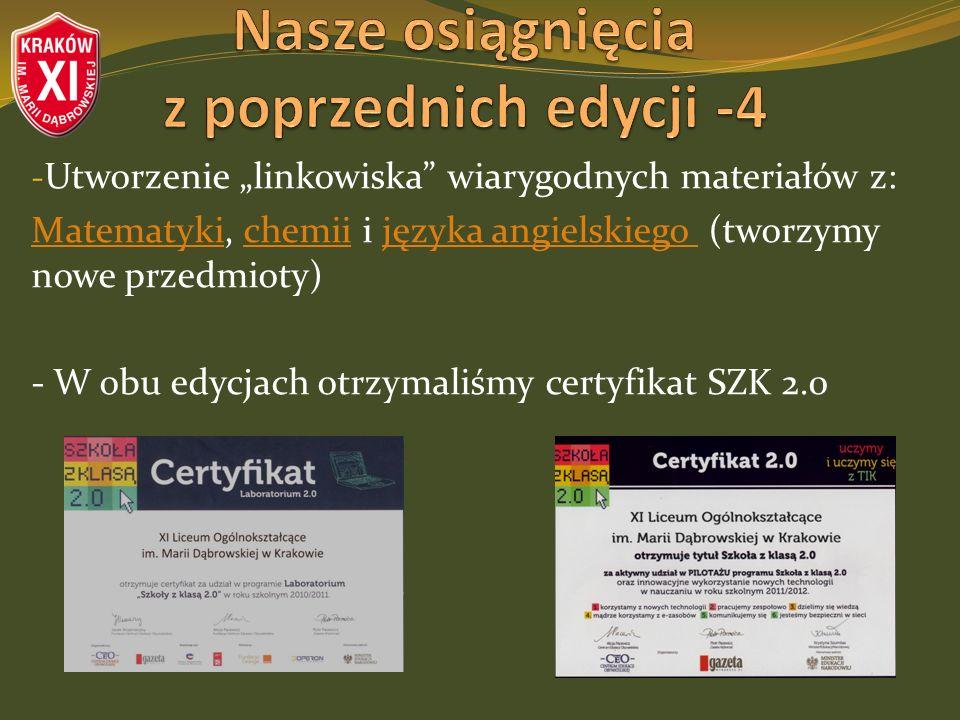 - Utworzenie linkowiska wiarygodnych materiałów z: MatematykiMatematyki, chemii i języka angielskiego (tworzymy nowe przedmioty)chemiijęzyka angielskiego - W obu edycjach otrzymaliśmy certyfikat SZK 2.0