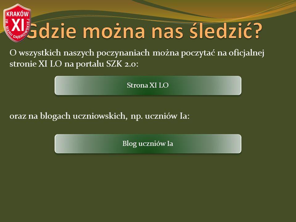 O wszystkich naszych poczynaniach można poczytać na oficjalnej stronie XI LO na portalu SZK 2.0: oraz na blogach uczniowskich, np. uczniów Ia: Strona