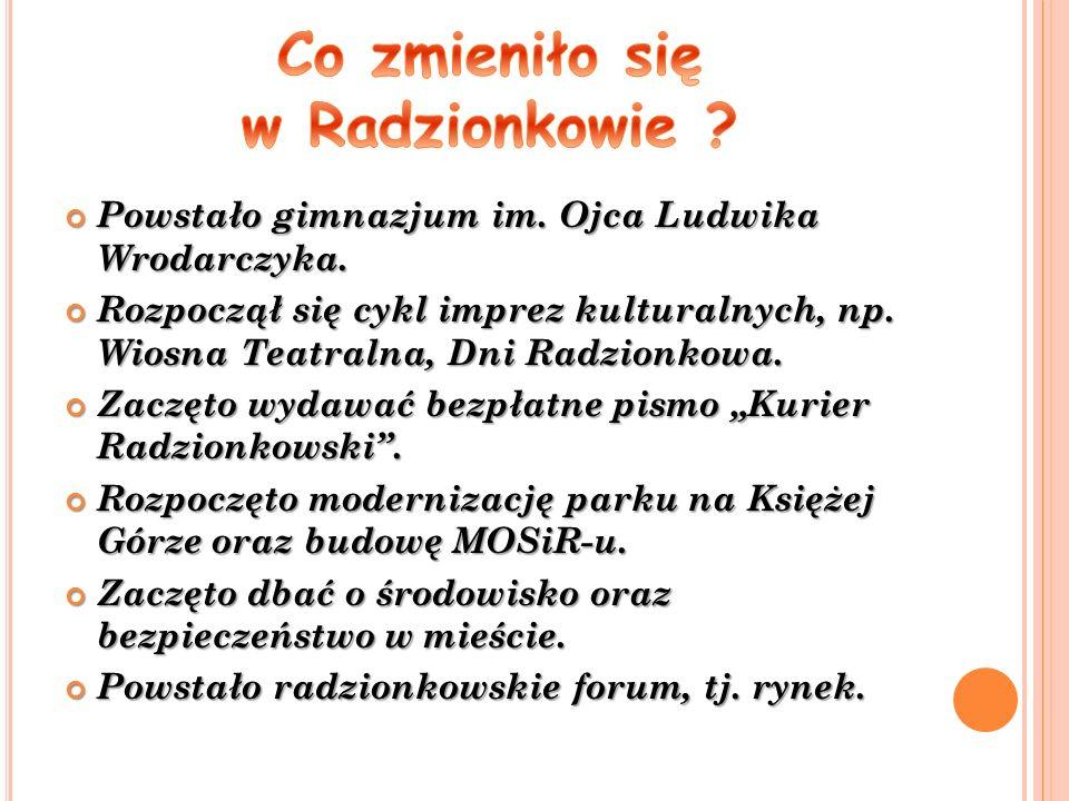Powstało gimnazjum im. Ojca Ludwika Wrodarczyka. Powstało gimnazjum im.