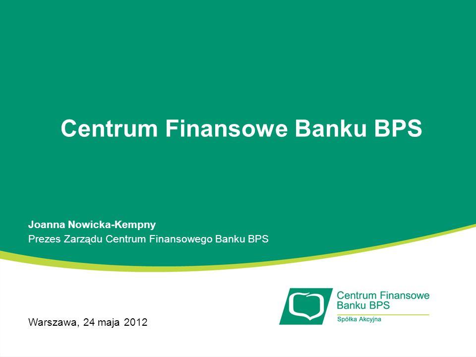 Najważniejsze wydarzenia w 2011 Źródło: Gazeta Giełdy Parkiet, 4.02.2012 Debiut Centrum Finansowego Banku BPS na rynku NewConnect Uzyskanie licencji na zarządzanie należnościami sekurytyzowanymi Podpisanie umowy z TFI BPS na obsługę wierzytelności na rzecz dwóch Niestandaryzowanych Sekurytyzacyjnych Funduszy Inwestycyjnych Zamkniętych Wzrost wartości obsługiwanych portfeli wierzytelności o 44,7% 5 miejsce w zestawieniu polskich firm windykacyjnych pod względem wartości portfeli wierzytelności przyjętych do windykacji w 2011* Wyróżnienie w konkursie Mama w pracy oraz tytuł Lider Rynku 2011