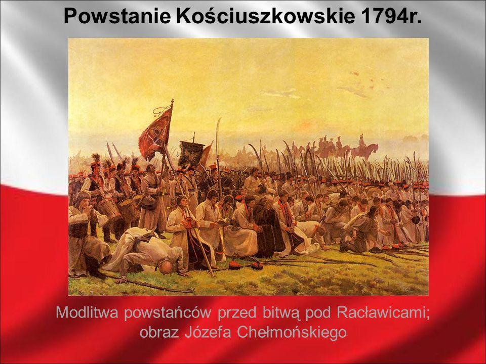 Modlitwa powstańców przed bitwą pod Racławicami; obraz Józefa Chełmońskiego Powstanie Kościuszkowskie 1794r.