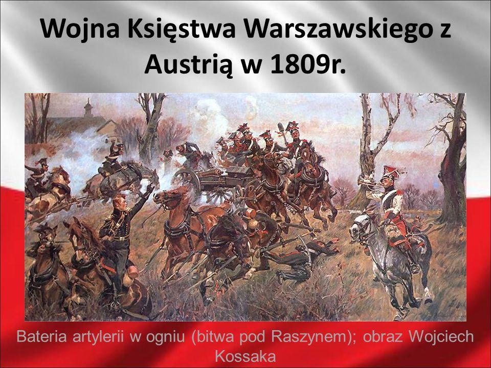 Wojna Księstwa Warszawskiego z Austrią w 1809r. Bateria artylerii w ogniu (bitwa pod Raszynem); obraz Wojciech Kossaka
