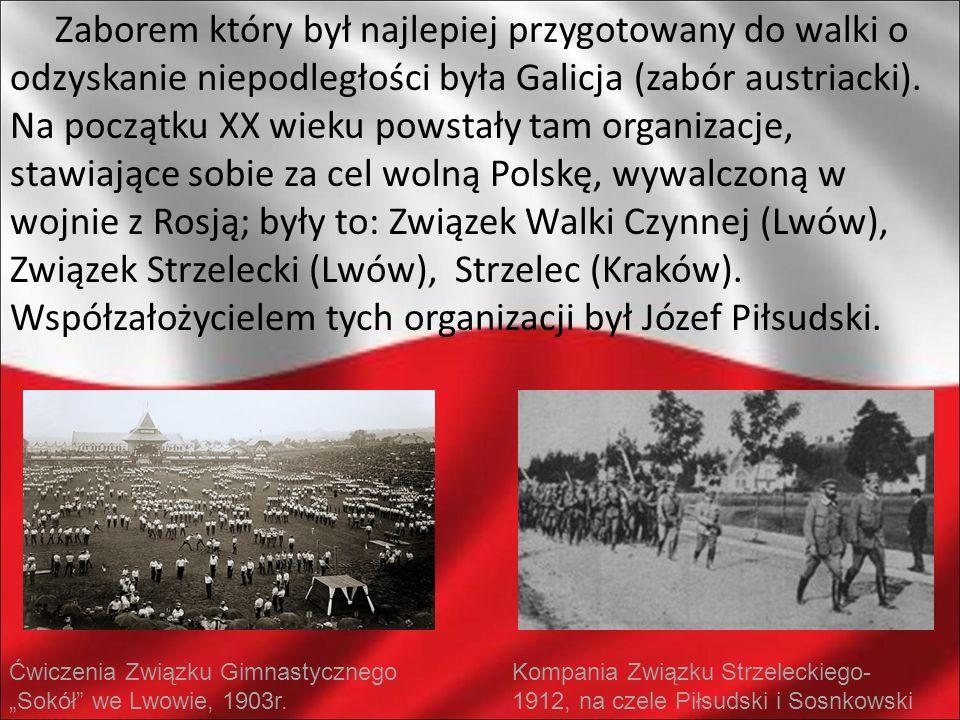 Zaborem który był najlepiej przygotowany do walki o odzyskanie niepodległości była Galicja (zabór austriacki). Na początku XX wieku powstały tam organ