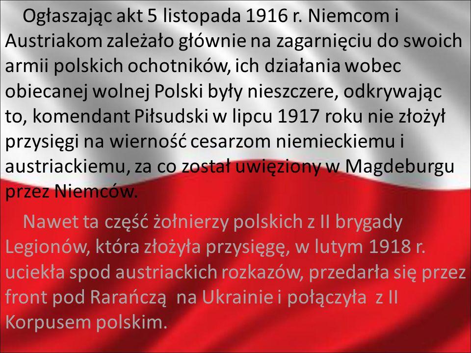 Ogłaszając akt 5 listopada 1916 r. Niemcom i Austriakom zależało głównie na zagarnięciu do swoich armii polskich ochotników, ich działania wobec obiec